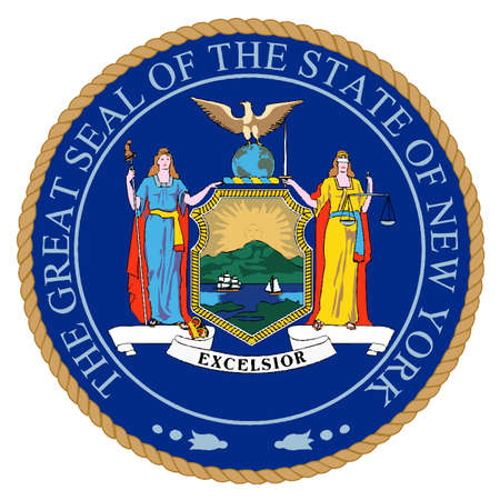 The seal of the state of New York over white