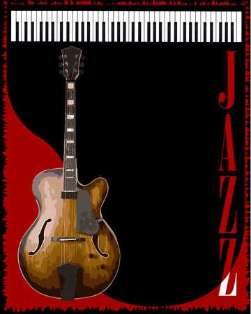 venue: Una chitarra e pianoforte jazz sfondo per un poster Vettoriali