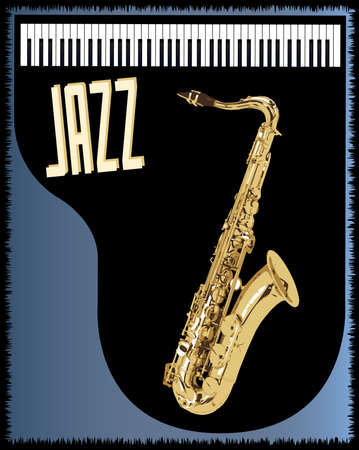 gig: A piano and saxophone jazz poster background Illustration