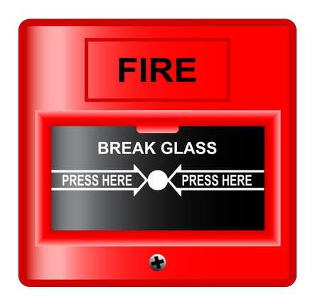 A  break glass  fire alarm over a white background  Stock Illustratie