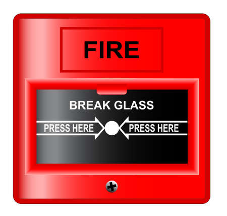 A  break glass  fire alarm over a white background  Vectores