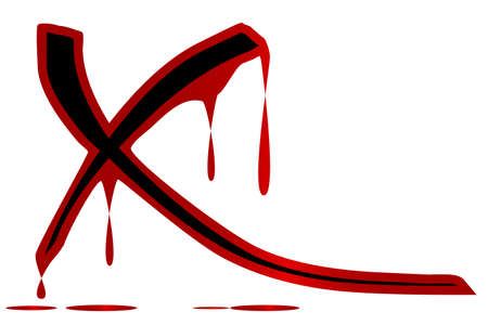 blooded: The letter X covered in dripping blood and isolated over a white background