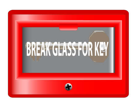 glass break: A break glass for key box over a white background