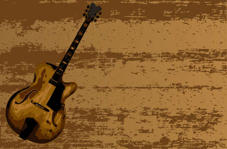 A big body jazz guitar set on a tinber background for a poster  イラスト・ベクター素材