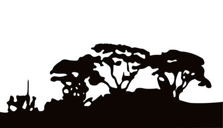 Silhouette of a wooded copse over a white background