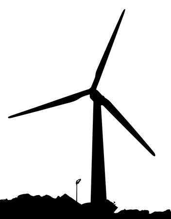 A wind powered generator on a white background Vector