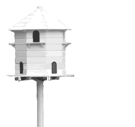 aviary: A bird hiuse isolated on a white background