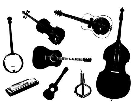 bluegrass: A collection of typical bluegrass musical instruments in silhouette over a white background Illustration