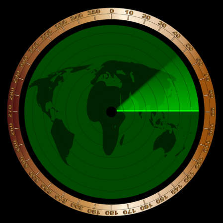 The screen of a typical radar device in green with graduations and a map of the continents Vector