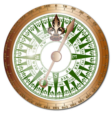 bezel: A typical old fashioned ships compass with brass bezel and glass reflections over a white background