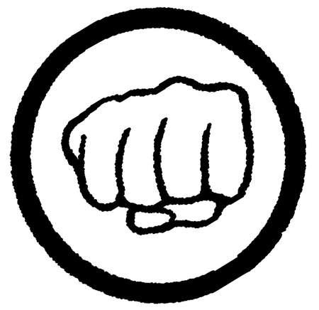 ballen: Eine geballte Faust in einem schwarzen Kreis in einem wei�en Hintergrund eingeschlossen Illustration