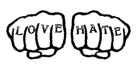 hate: Clenched fists with love hate tattoo enclosed in a black circle over a white background Illustration