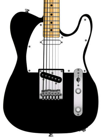 Classic rock and roll guitar body over a white background