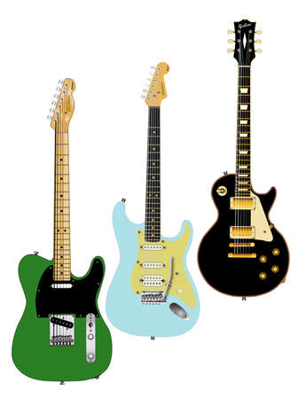 A collection of classic guitars on a white background