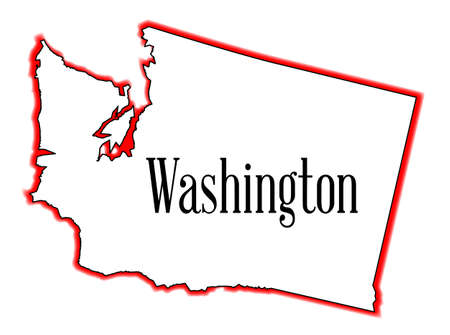 george washington: Outline of the state of Washington isolated Illustration