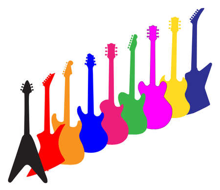 A collection of brightly coloured guitar silhouettes