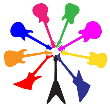 A collection of brightly coloured guitar silhouettes in a circle isolated on a white background