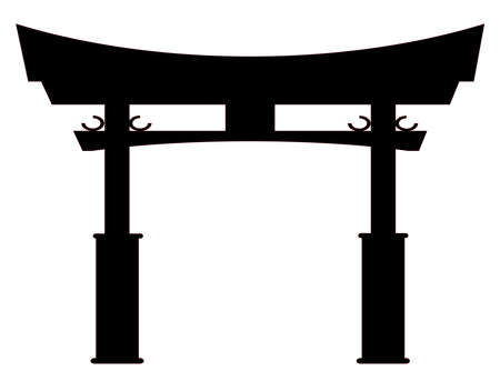 A typical Japanese Tori gate silhouette over white  イラスト・ベクター素材