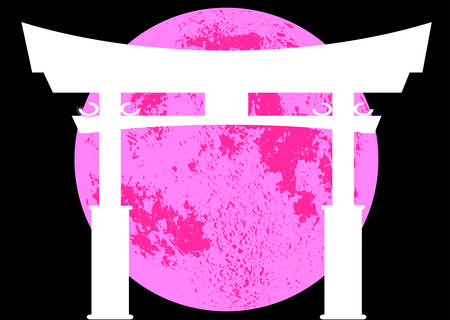 A typical Japanese Tori gate silhouette over a pink moon