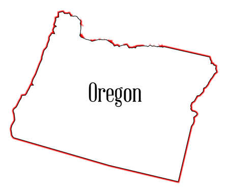 oregon coast: Outline of the state of Oregon isolated