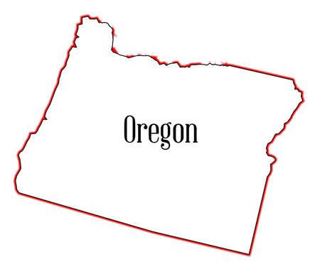 oregon coast: Outline of the state of Oregon isolated