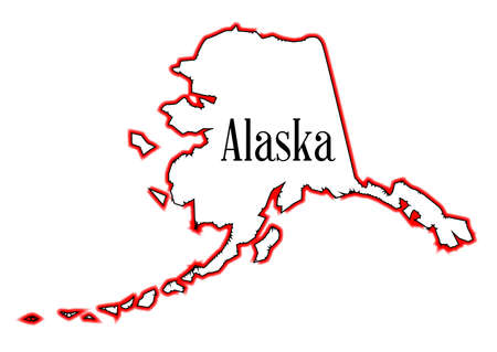 Outline of the state of Alaska isolated Illustration