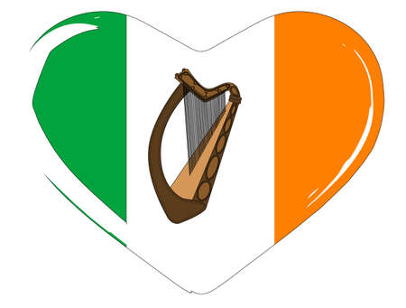 eire: The flag of Eire set inside a heart silhouette Illustration