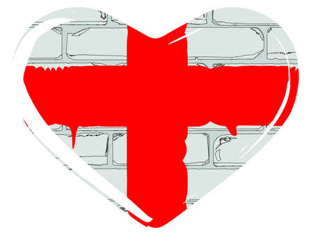 saint george: The flag of Saint George of England set inside a heart silhouette