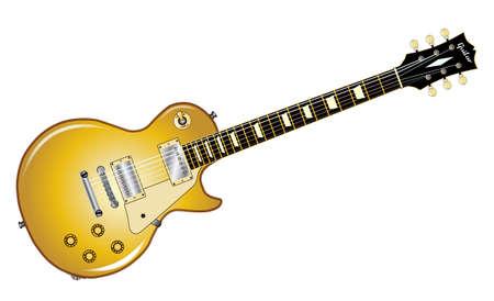 pickups: Il rock and roll chitarra definitiva con un top oro, isolato su uno sfondo bianco. Vettoriali