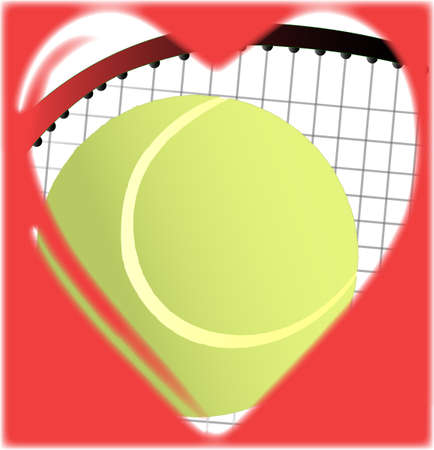 A tennis ball and racket in a traditional cartoon heart shape