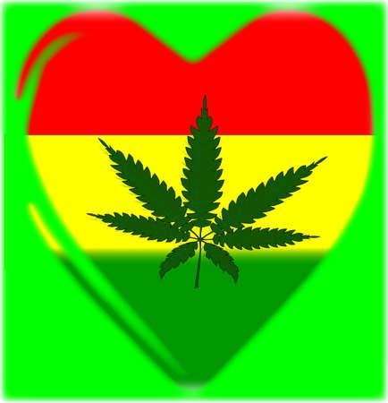 canabis: A Rastafarian flag and hemp leaf in a traditional cartoon heart shape