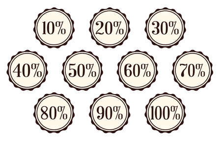 80 90: A selection of Percentage off buttons over a white background