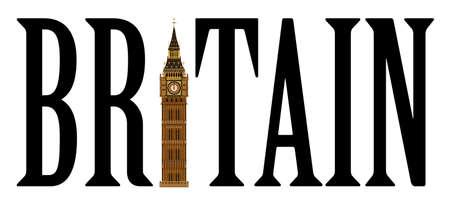 land mark: El hito de Londres el Big Ben torre del reloj aislado en un blanco Vectores