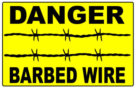 A barbed wire warning sign over a white background