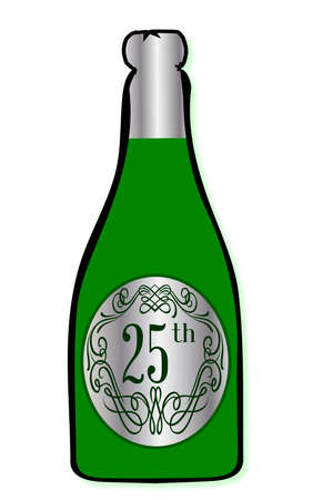 25th: A congratulations bottle of champagne with the legend 25th on a white background Illustration