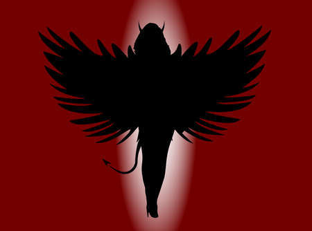 succubus: A she devil with large wings all in silhouette