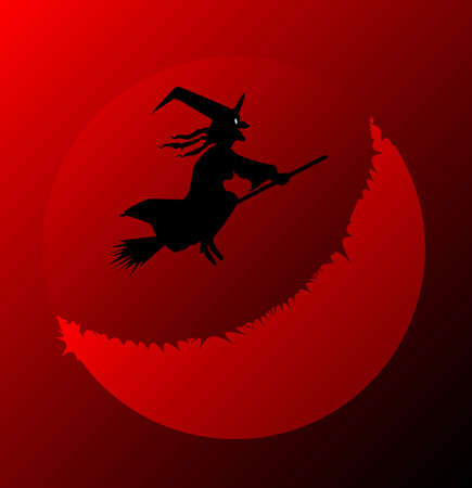 ghostly: A halloween witch flying over a blood red moon