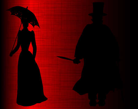 slasher: A victim of Jack the Ripper set against a dark moody red grunge background