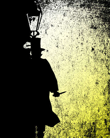 gas lamp: Jack the ripper by the light of a gas street lamp