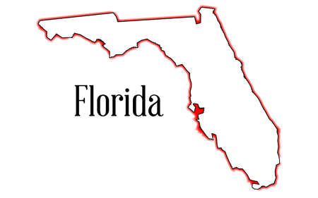 Outline of the map of Florida isolated on white Ilustrace