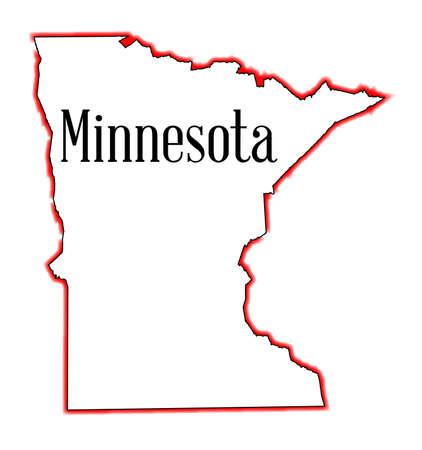 미네소타 개요지도 흰색 배경에 고립 된 일러스트
