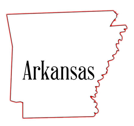 State map outline of Arkansas over a white background Ilustrace