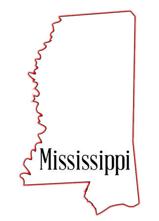 State map outline of Mississippi over a white background