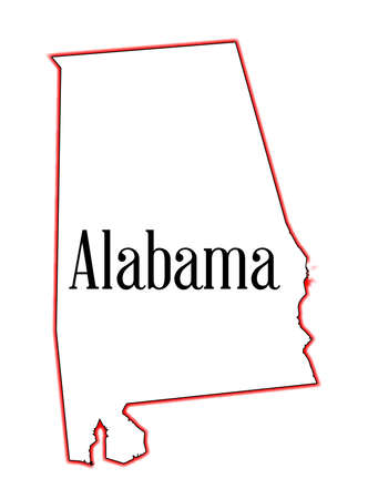 State map outline of Alabama over a white background Ilustrace