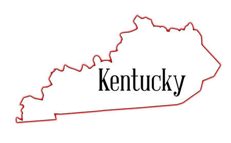 State map outline of Kentucky over a white background Ilustrace