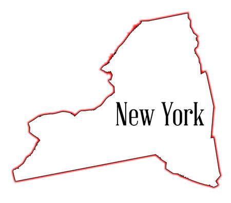 흰색 배경 위에 뉴욕의 상태지도 개요