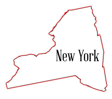 State map outline of New York over a white background Ilustrace