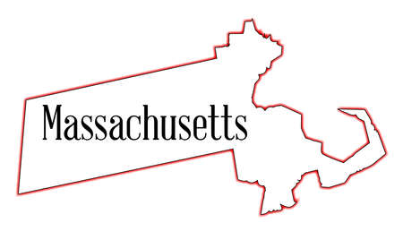 State map outline of Massachusetts over a white background Ilustrace