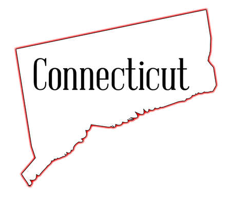 State map outline of Connecticut over a white background