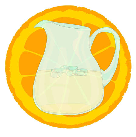 A pitcher pf orangenade with a slice of orange and ice. Vector